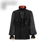 Fashion Black Soft Gothic Shirt With High Stand Collar For Men