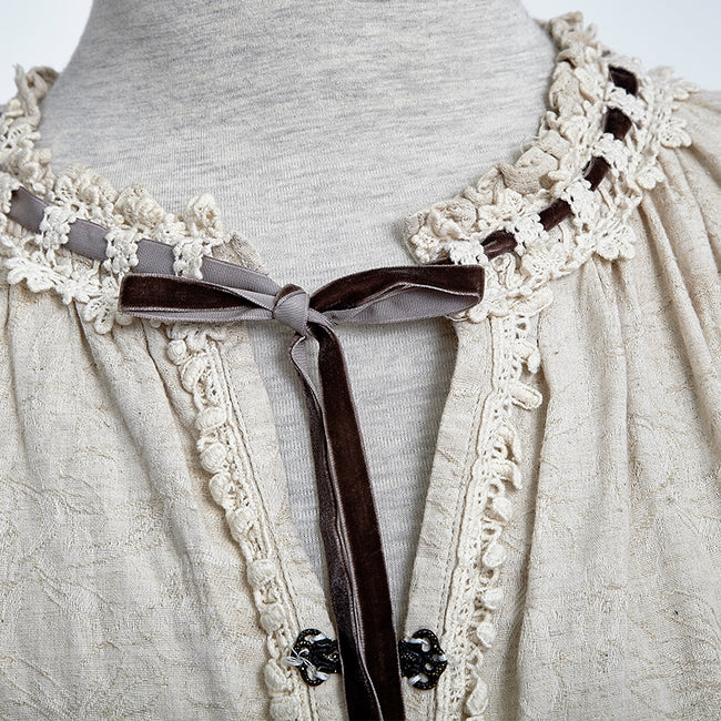 Western Style Long Sleeve Loose Gothic Shirt With Lace Collar