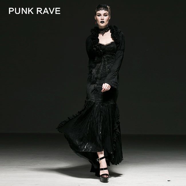 Sexy Victorian Bubble Long Sleeves Gothic Coat With Low Neck
