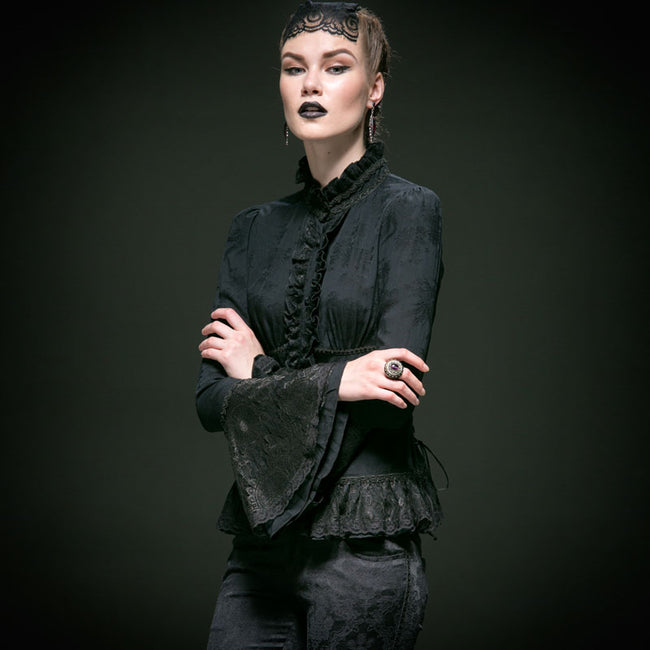 Long Flared Sleeve Slim Fit Lace Gothic Shirt With High Neck