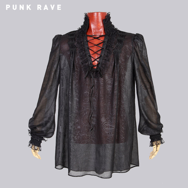 Embossing Chiffon Gothic Shirt With Ruffled Long Sleeves