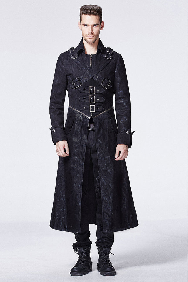 Military Punk Trench Coat With Long Sleeve