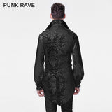 Black Lace Lapel Gothic Shirt With Bubble Long Sleeve