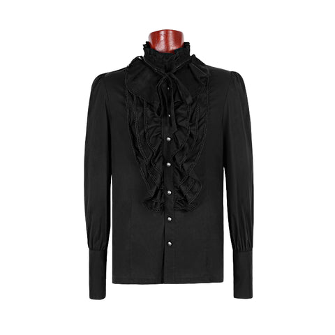 Black Bubble Long Sleeve Gothic Shirt With Lace High Collar