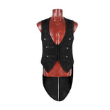 Black Embossed Pattern Gothic Vest With Swallow Tail