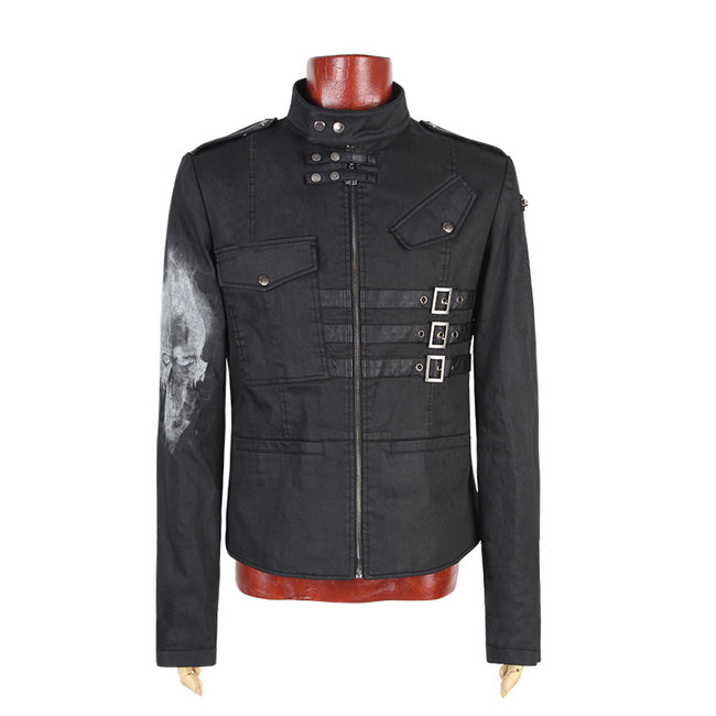 Across An Arm Printed Skull Punk Jacket For Men