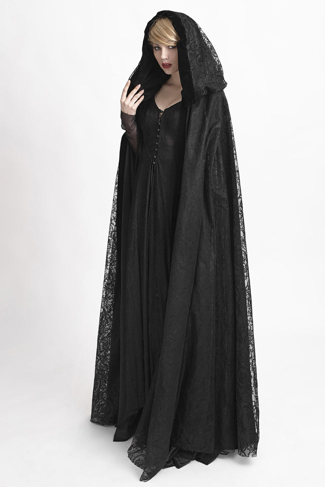 Velvet Fabric Big Cape Gothic Trench Coats With Flower Pattern