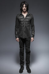Rock Metallic Black Slim Punk Shirts With A Collar