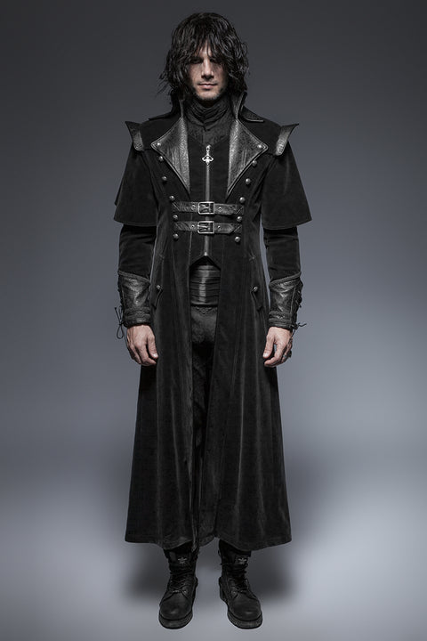 Military Black Leather Long Gothic Trench Coats With Belts