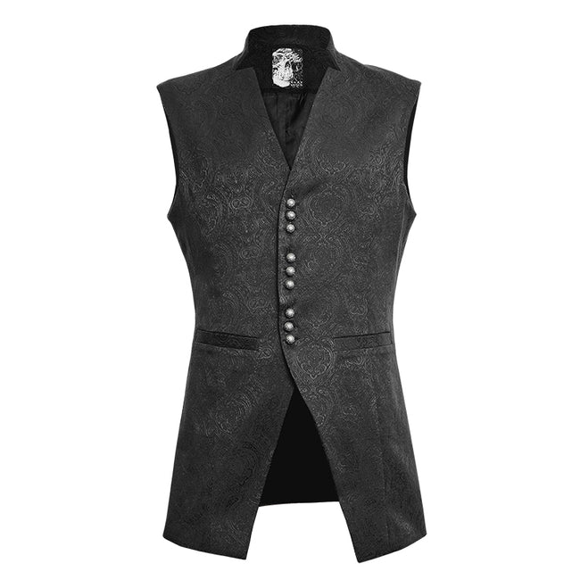 Winter Luxury Flower Pattern Gothic Vest With Stand-up Collar