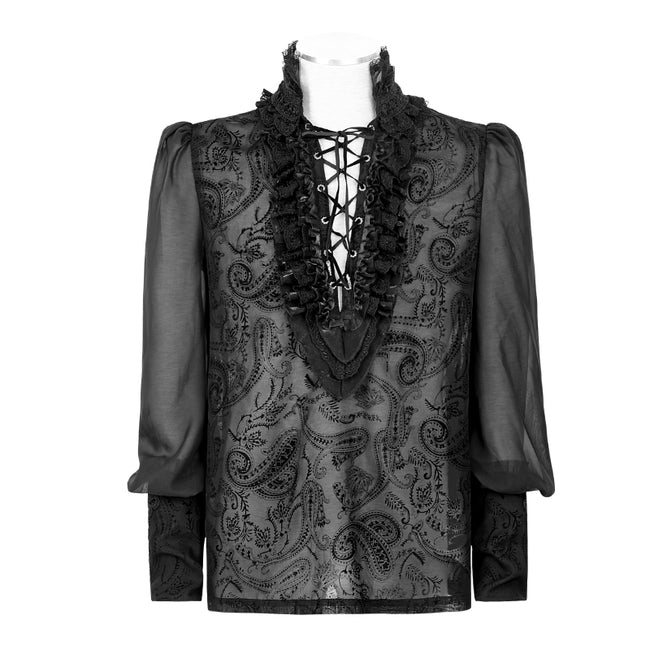 Gorgeous Silk Gothic Shirt With Bubble Long Sleeve