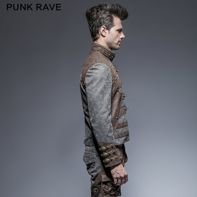 Steampunk Zipped Short Punk Jacket With Stand-up Collar