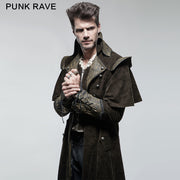 Military Cape Style Modern Gothic Trench Coats For Men