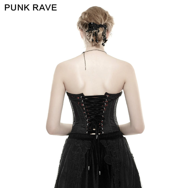 3D Flowers Printed Sexy Gothic Accessiories Adjustable Elastic Waist Corset