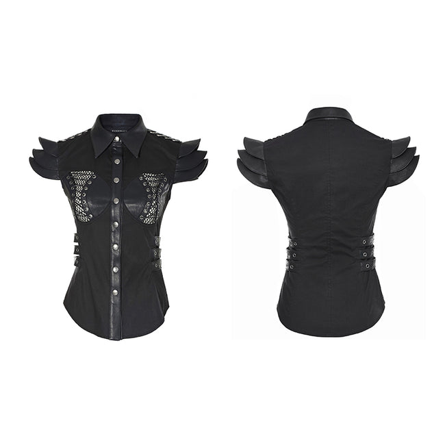 Spring Military Leather Skinny Punk Shirts For Women