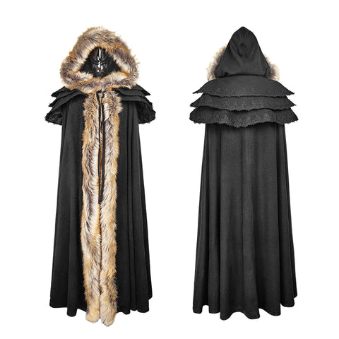 Long Cloak Gothic Trench Coats With Excellent Wool Collar