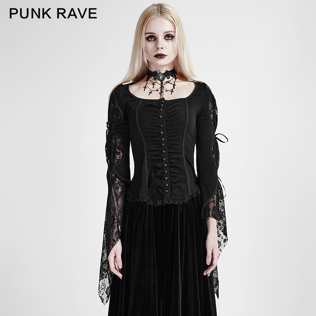Black Long Wide Sleeves Gothic Shirt With Roses Lace Back