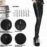 Black Long Leather Punk Pants For Women With Side Zippers