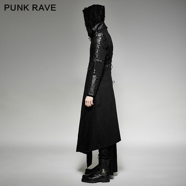 Asymmetric Hem Vintage And Modern Punk Jacket With High Collar