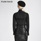 Black Stripes Long Sleeve Punk Shirts With Cut-out Collar