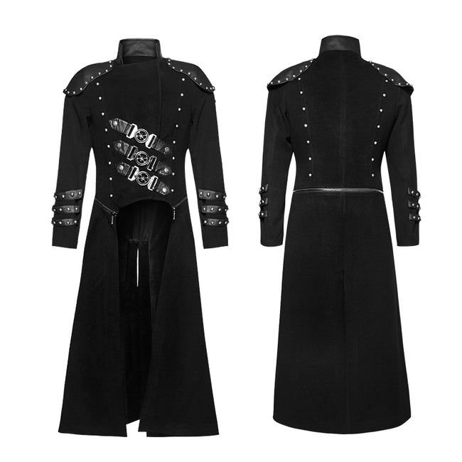 Long Woolen Punk Trench Coat With Double Zippers