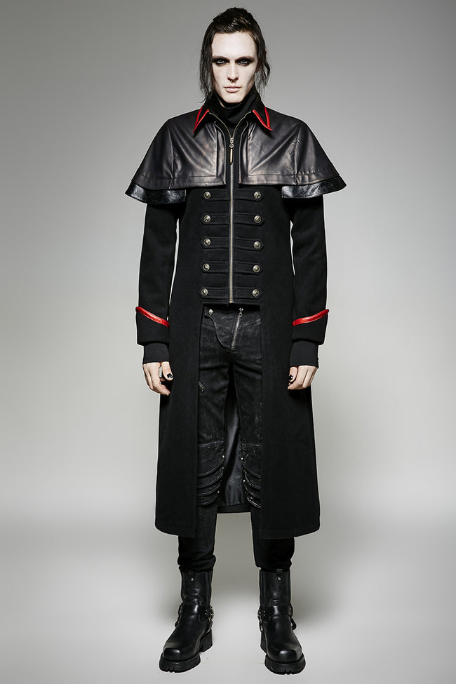 Military Leather Long Gothic Trench Coats Double-breasted