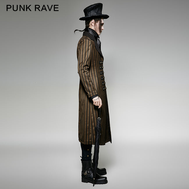 Yellow And Black Vertical Stripe Punk Coat With A Lapel