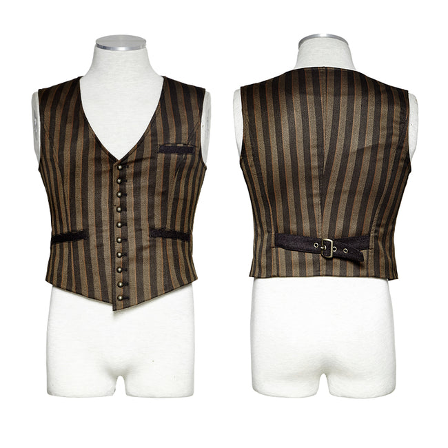 V Collar Punk Vest With Metal Carving Buttons In The Front