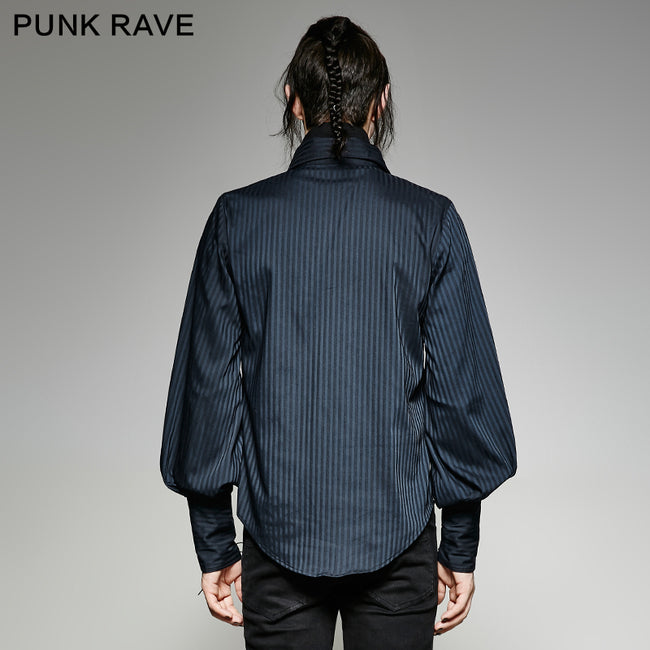 Great Black Striped Punk Shirts With Vertical Sense Plaids