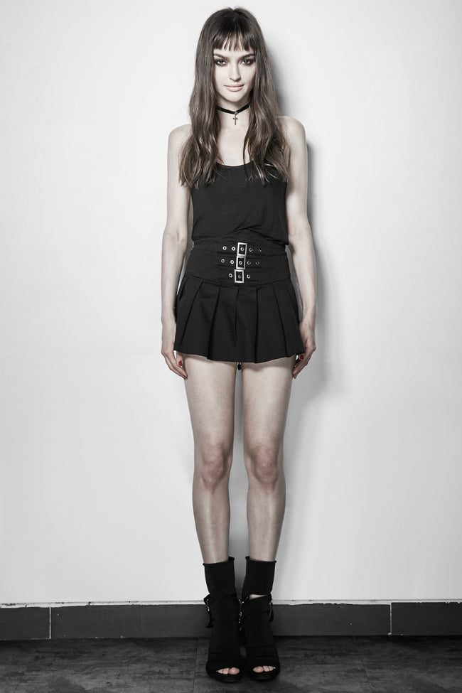 Black Custom Camisole Punk Vest With Bare Back
