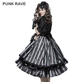 New Design Black Butterfly Stripe Lovely Canvas Lolita Style Gothic Skirt
