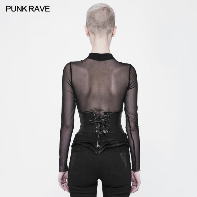 PUNK RAVE leather black girdles corset