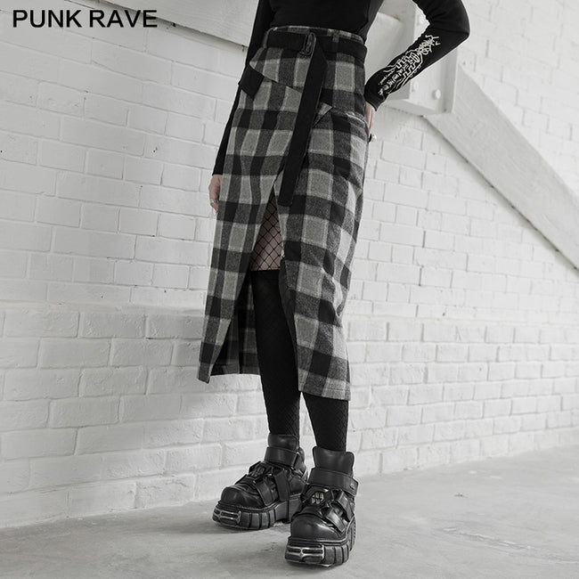"""PUNK"" series high waist A shape mid-length skirt"