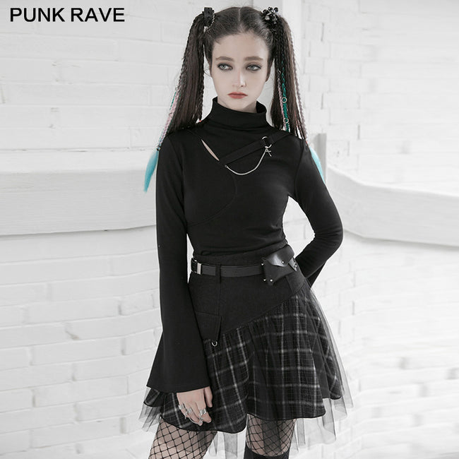 """PUNK"" series mesh stitched plaid high-waisted skirt"