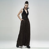 Black Gold Dark Flower Hanging Neck Lace Vest