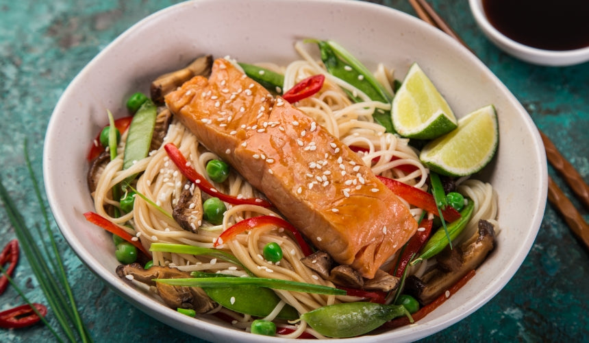 Soy Chilli Salmon w' Sesame & Cucumber Noodles