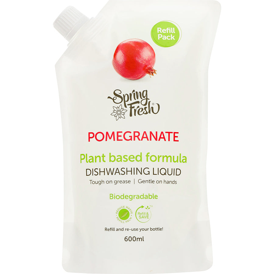 Spring Fresh Dishwashing Liquid Plant Based Formula Pomegranate Refill 600ml