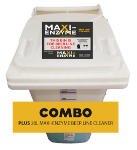 120L Wheely Bin & Maxi-Enzyme beer line cleaner