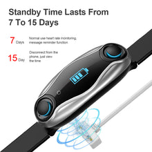 Load image into Gallery viewer, New 2019 LT04 Smart Watch Earbud Double Bluetooth Answer Call Real Time Heart Rate MIC Supported Smartwatch Bracelet Men Women