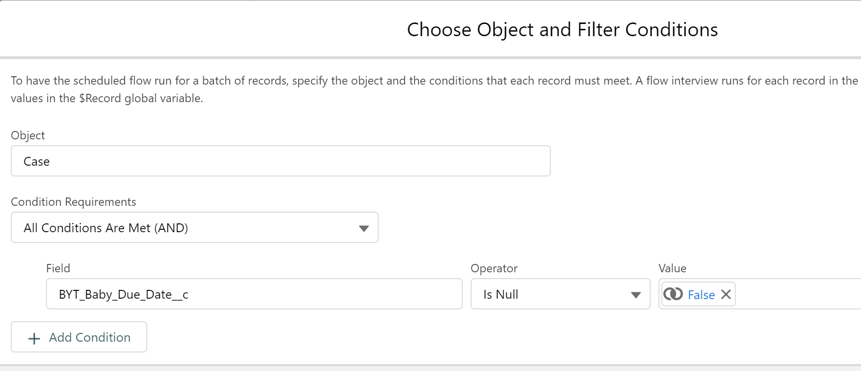 Choose Object and Filter Conditions: (Optional)