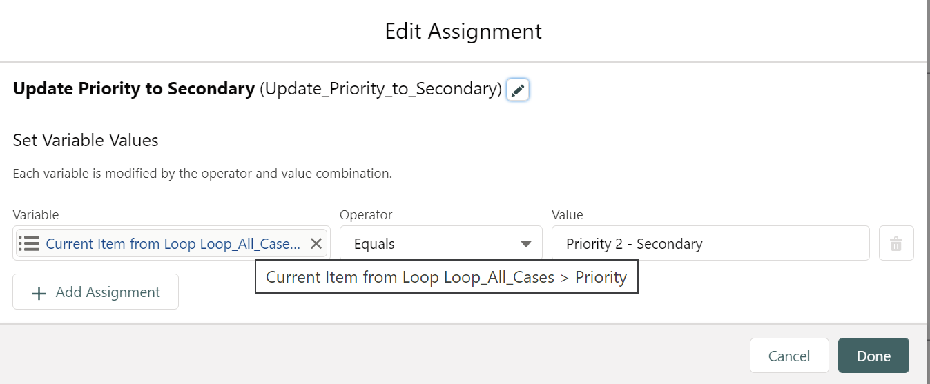 Assignment-2: Update Priority to Secondary: