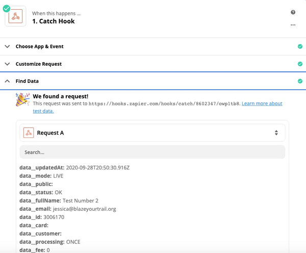 Screenshot of a successful test donation from Raisely in Zapier