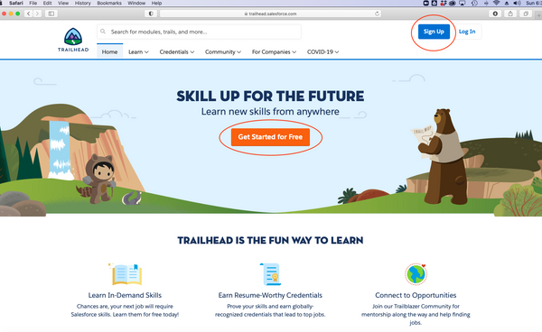 Sign up for trailhead