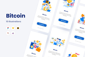 bitcoin website landing page and app illustrations