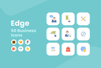 Edge Flat Business Icons