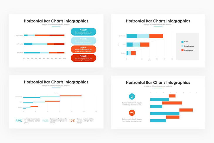 Horizontal Bar Charts - PowerPoint Template