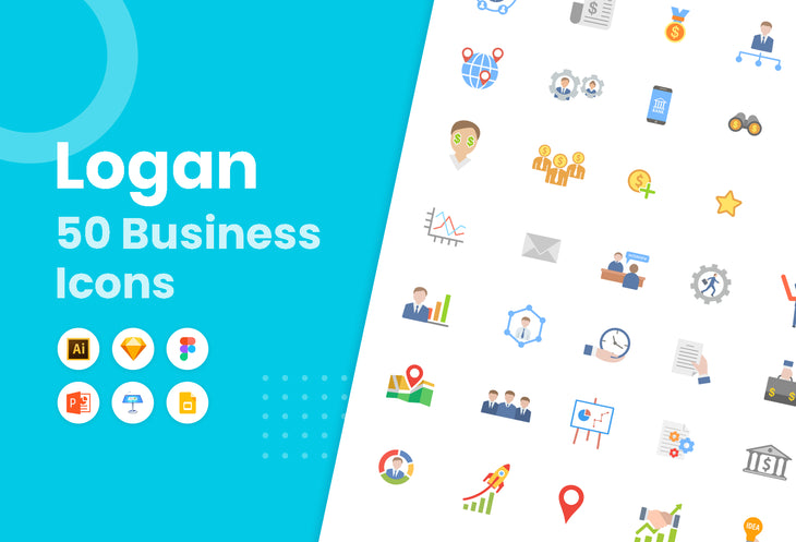 Logan Flat Business Icons