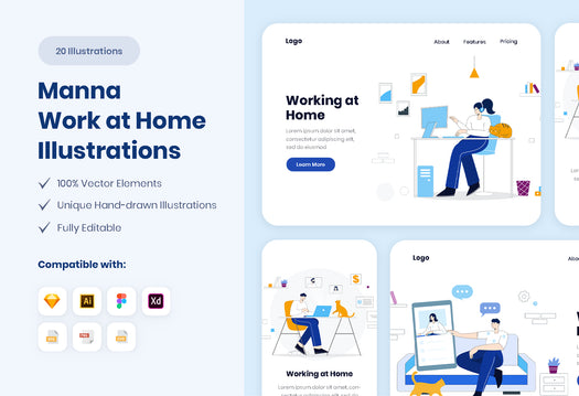 Manna Work at Home Illustrations