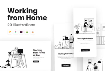Mini Work from Home Illustrations