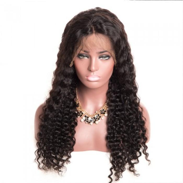 Pre-Plucked 360 Lace Frontal Wig Virgin Hair Deep Curly #1B
